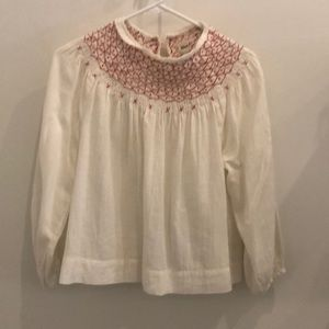 Rebecca Taylor Cotton Embroidered Blouse Size S